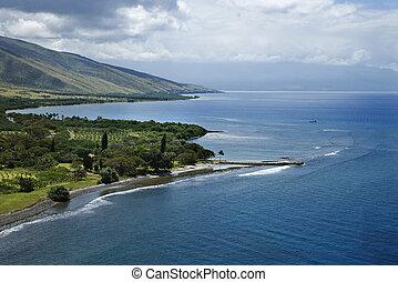 Maui coastline. - Aerial view of jetty on coastline of Maui,...