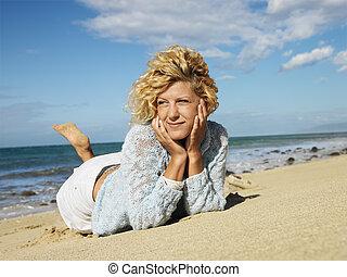 maui, mulher, praia