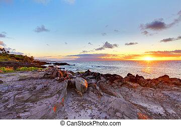 maui, ocean., isla, hawaii., línea de la costa, acantilado