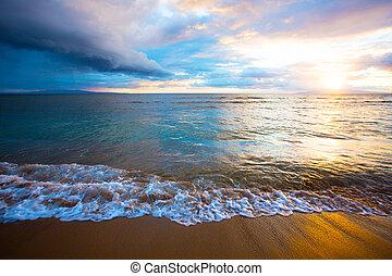 maui, plage, levers de soleil