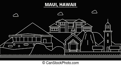 Maui silhouette skyline. USA - Maui vector city, american linear architecture, buildings. Maui travel illustration, outline landmarks. USA flat icons, american line banner