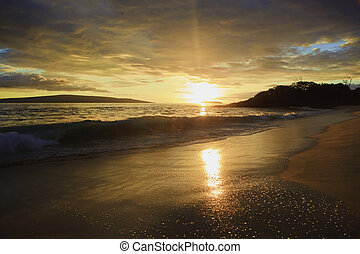 maui, strand, makena, solnedgång