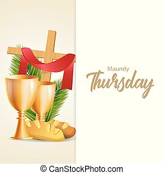 Maundy Thursday vector illustration