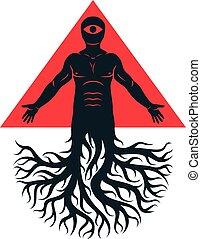 maurer, vektor, abbildung, geschaffen, als, athletische, mann, gelassen, mit, baumwurzeln, und, rotes dreieck, mit, aller-sehen, eye.