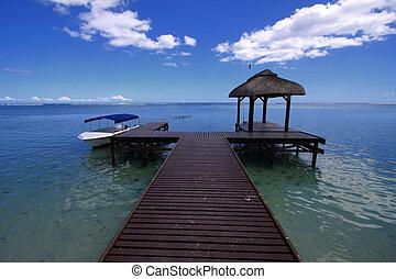 mauricio, cielo azul, mar
