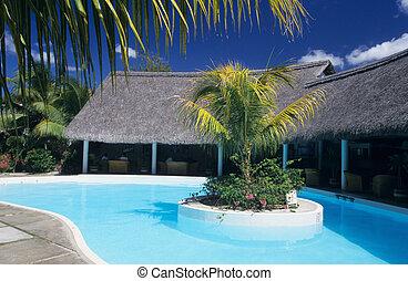 mauricio, isla, piscina del hotel, natación