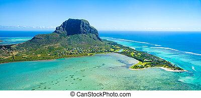 mauricio, isla, vista aérea
