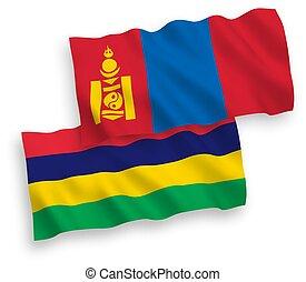 mauricio, mongolia, república, fondo blanco, banderas
