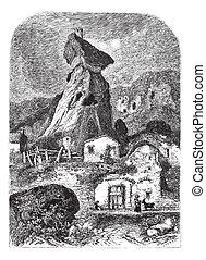 maurifolet, フランス, タワー, engraving., 型, 台なし