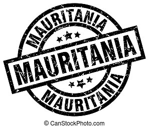 Mauritania black round grunge stamp