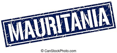 Mauritania blue square stamp