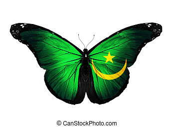Mauritania flag butterfly flying, isolated on white background