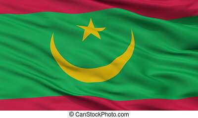 Mauritania Flag Closeup Seamless Loop - Mauritania Flag,...