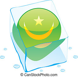mauritania flag frozen in ice