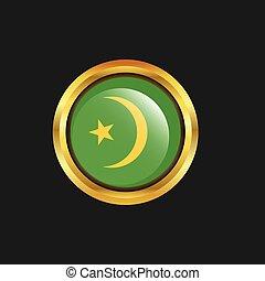 Mauritania flag Golden button
