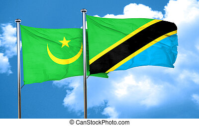Mauritania flag with Tanzania flag, 3D rendering