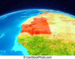 Mauritania from orbit - Satellite view of Mauritania ...
