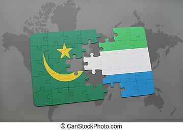 mauritania, kaart, raadsel, vlag, sierra, wereld, nationale, leone