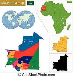 Mauritania map - Administrative division of the Islamic...