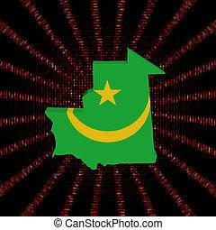 Mauritania map flag on red hex code burst illustration
