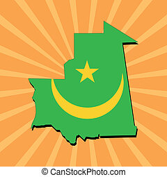 Mauritania map flag on sunburst