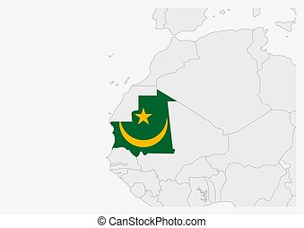 Mauritania map highlighted in Mauritania flag colors, gray ...