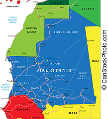 Mauritania map - Highly detailed vector map of Mauritania...