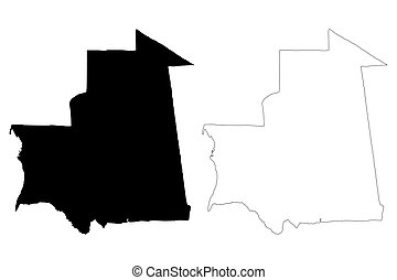 Mauritania map vector illustration, scribble sketch Islamic...
