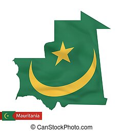 Mauritania map with waving flag of country.