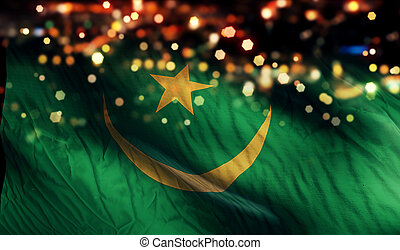 Mauritania National Flag Light Night Bokeh Abstract Background