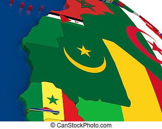 Mauritania on 3D map with flags
