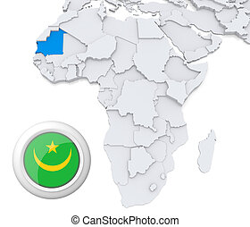 Mauritania on Africa map