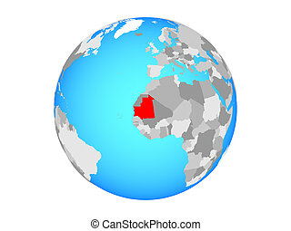 Mauritania on globe isolated