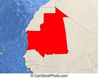 Mauritania on map