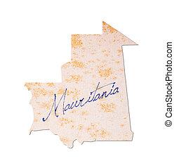 mauritania, -, oud, papier, met, handschrift