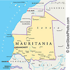 Mauritania Political Map with capital Nouakchott, national...