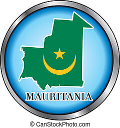 Mauritania Round Button - Vector Illustration for...