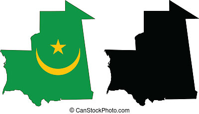mauritania - vector map and flag of Mauritania with white...