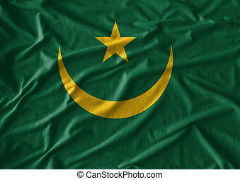 mauritania vlag, weefsel, textuur, model