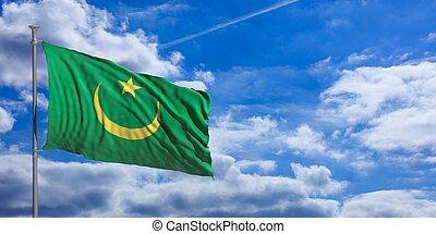 Mauritania waving flag on blue sky. 3d illustration