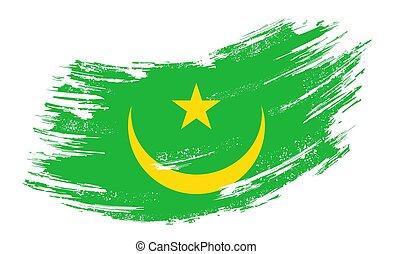 Mauritanian flag grunge brush background. Vector illustration.