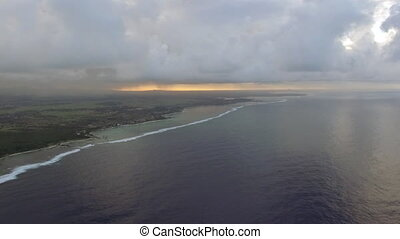Mauritius and blue ocean, aerial scene - Aerial distant view...