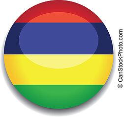 mauritius, botão, bandeira