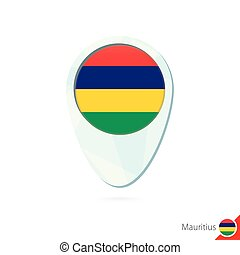 Mauritius flag location map pin icon on white background....