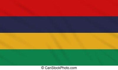 Mauritius flag waving cloth background, loop