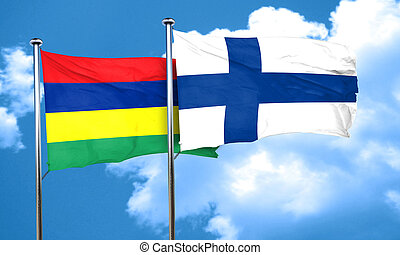 Mauritius flag with Finland flag, 3D rendering