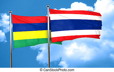 Mauritius flag with Thailand flag, 3D rendering