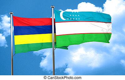 Mauritius flag with Uzbekistan flag, 3D rendering