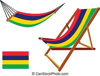 mauritius hammock and deck chair set against white...