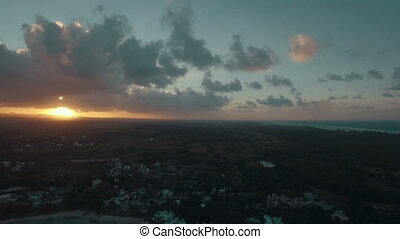 Mauritius Island at sunset, aerial view